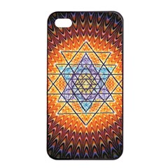 Cosmik Triangle Space Rainbow Light Blue Gold Orange Apple Iphone 4/4s Seamless Case (black) by Mariart