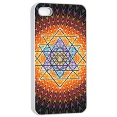 Cosmik Triangle Space Rainbow Light Blue Gold Orange Apple Iphone 4/4s Seamless Case (white) by Mariart