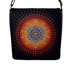 Cosmik Triangle Space Rainbow Light Blue Gold Orange Flap Messenger Bag (l)  by Mariart
