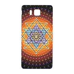 Cosmik Triangle Space Rainbow Light Blue Gold Orange Samsung Galaxy Alpha Hardshell Back Case by Mariart