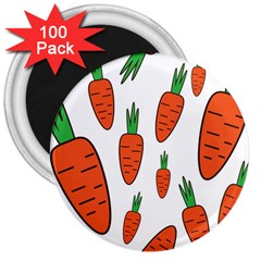 Fruit Vegetable Carrots 3  Magnets (100 Pack) by Mariart