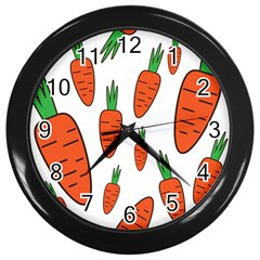 Fruit Vegetable Carrots Wall Clocks (black) by Mariart