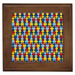 Fuzzle Red Blue Yellow Colorful Framed Tiles by Mariart