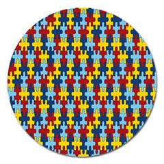 Fuzzle Red Blue Yellow Colorful Magnet 5  (round) by Mariart
