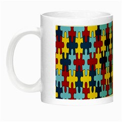 Fuzzle Red Blue Yellow Colorful Night Luminous Mugs by Mariart