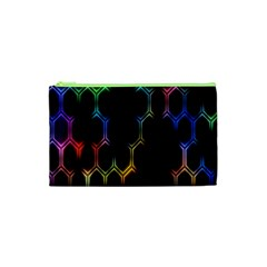 Grid Light Colorful Bright Ultra Cosmetic Bag (xs) by Mariart