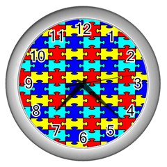 Game Puzzle Wall Clocks (silver)  by Mariart
