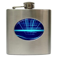Grid Structure Blue Line Hip Flask (6 Oz) by Mariart
