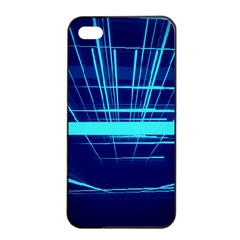 Grid Structure Blue Line Apple Iphone 4/4s Seamless Case (black) by Mariart