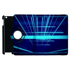 Grid Structure Blue Line Apple Ipad 3/4 Flip 360 Case by Mariart
