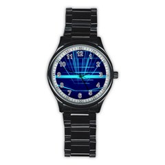 Grid Structure Blue Line Stainless Steel Round Watch by Mariart