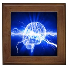 Lightning Brain Blue Framed Tiles by Mariart