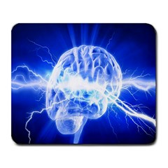 Lightning Brain Blue Large Mousepads by Mariart