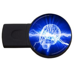 Lightning Brain Blue Usb Flash Drive Round (2 Gb) by Mariart