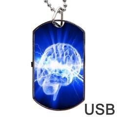 Lightning Brain Blue Dog Tag Usb Flash (one Side) by Mariart