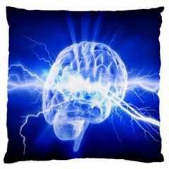 Lightning Brain Blue Large Cushion Case (two Sides) by Mariart