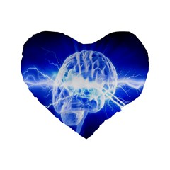 Lightning Brain Blue Standard 16  Premium Flano Heart Shape Cushions by Mariart