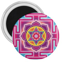 Kali Yantra Inverted Rainbow 3  Magnets by Mariart