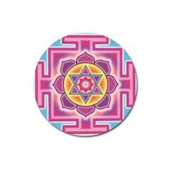 Kali Yantra Inverted Rainbow Magnet 3  (round) by Mariart
