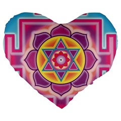 Kali Yantra Inverted Rainbow Large 19  Premium Heart Shape Cushions by Mariart