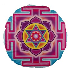 Kali Yantra Inverted Rainbow Large 18  Premium Flano Round Cushions by Mariart