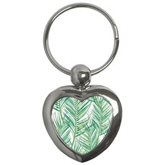 Jungle Fever Green Leaves Key Chains (heart)  by Mariart