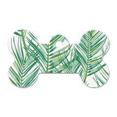Jungle Fever Green Leaves Dog Tag Bone (two Sides) by Mariart