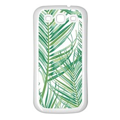 Jungle Fever Green Leaves Samsung Galaxy S3 Back Case (white) by Mariart