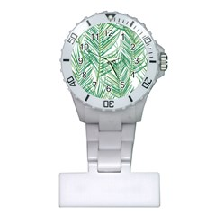 Jungle Fever Green Leaves Plastic Nurses Watch by Mariart
