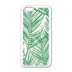 Jungle Fever Green Leaves Apple Iphone 6/6s White Enamel Case by Mariart