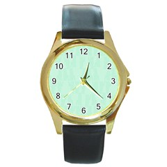 Line Blue Chevron Round Gold Metal Watch by Mariart