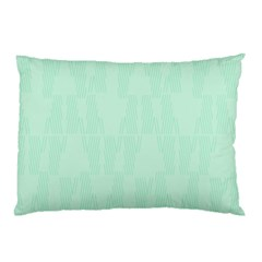 Line Blue Chevron Pillow Case (two Sides) by Mariart