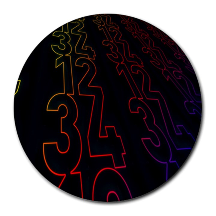 Neon Number Round Mousepads
