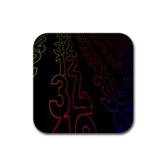 Neon Number Rubber Square Coaster (4 Pack)  by Mariart