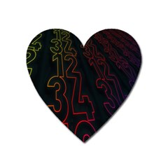 Neon Number Heart Magnet by Mariart