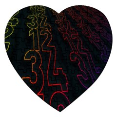 Neon Number Jigsaw Puzzle (heart) by Mariart