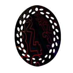 Neon Number Oval Filigree Ornament (two Sides) by Mariart
