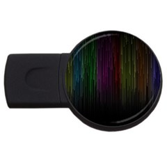 Line Rain Rainbow Light Stripes Lines Flow Usb Flash Drive Round (2 Gb) by Mariart