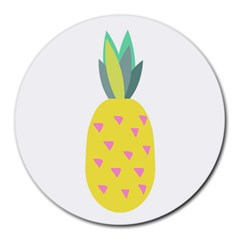 Pineapple Fruite Yellow Triangle Pink Round Mousepads by Mariart