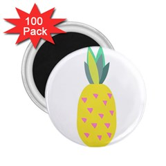 Pineapple Fruite Yellow Triangle Pink 2 25  Magnets (100 Pack)  by Mariart