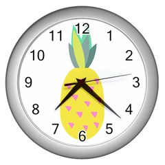 Pineapple Fruite Yellow Triangle Pink Wall Clocks (silver)  by Mariart