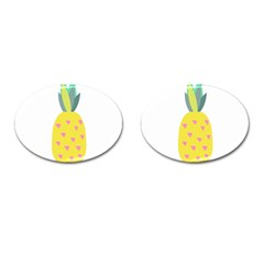 Pineapple Fruite Yellow Triangle Pink Cufflinks (oval) by Mariart