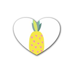 Pineapple Fruite Yellow Triangle Pink Rubber Coaster (heart)  by Mariart