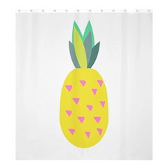 Pineapple Fruite Yellow Triangle Pink Shower Curtain 66  X 72  (large)  by Mariart