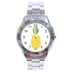 Pineapple Fruite Yellow Triangle Pink Stainless Steel Analogue Watch by Mariart