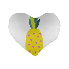 Pineapple Fruite Yellow Triangle Pink Standard 16  Premium Heart Shape Cushions by Mariart