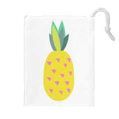 Pineapple Fruite Yellow Triangle Pink Drawstring Pouches (extra Large) by Mariart