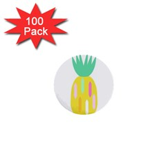Pineapple Fruite Yellow Triangle Pink White 1  Mini Buttons (100 Pack)  by Mariart