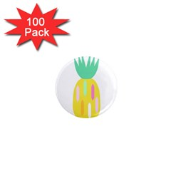 Pineapple Fruite Yellow Triangle Pink White 1  Mini Magnets (100 Pack)  by Mariart