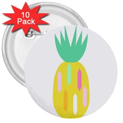 Pineapple Fruite Yellow Triangle Pink White 3  Buttons (10 Pack)  by Mariart